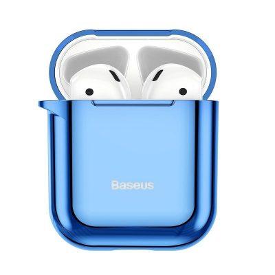 Apple AirPods 1/2 védőtok, Baseus Shining Hook, Kék, Fém karabélyt tartalmaz