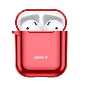 Apple AirPods 1/2 védőtok, Baseus Shining Hook, Piros, Fém karabélyt tartalmaz