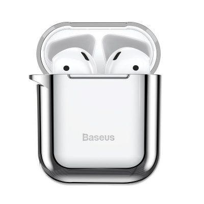 Apple AirPods 1/2 védőtok, Baseus Shining Hook, Ezüst, Fém karabélyt tartalmaz