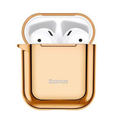 Apple AirPods 1/2 Védőtok, Ragyogó kampótalp, Fém karabély tartozék, Arany
