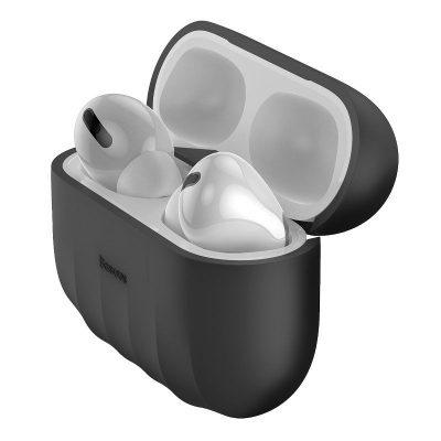 Apple AirPods Pro Védőtok, Héj minta, Szilikon, Fekete