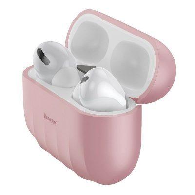 Apple AirPods Pro Védőtok, Héj minta, Szilikon, Rózsaszín