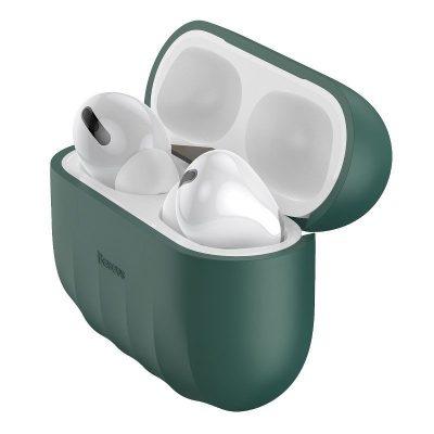 Apple AirPods Pro Védőtok, Héj minta, Szilikon, Zöld