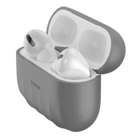 Apple AirPods Pro Védőtok, Héj minta, Szilikon, Szürke