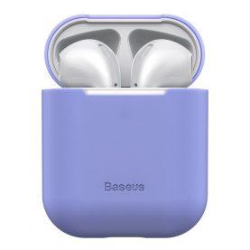 Apple AirPods 1/2 védőtok, Baseus, Szuper vékony, Szilikon, Lila
