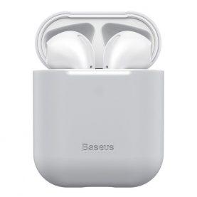 Apple AirPods 1/2 védőtok, Baseus, Szuper vékony, Szilikon, Szürke