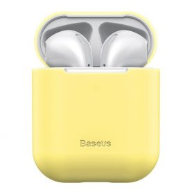 Apple AirPods 1/2 védőtok, Baseus, Szuper vékony, Szilikon, Sárga
