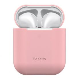 Apple AirPods 1/2 védőtok, Baseus, Szuper vékony, Szilikon, Rózsaszín