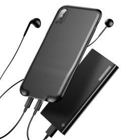 Apple iPhone X Baseus Audio Védőtok, Áram elosztóval, Fekete