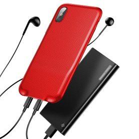 Apple iPhone X Baseus Audio Védőtok, Áram elosztóval, Piros