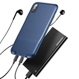 Apple iPhone X Baseus Audio Védőtok, Áram elosztóval, Kék
