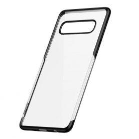 Samsung Galaxy S10 Baseus Védőtok, Fényes, 6,1″, Átlátszó / Fekete