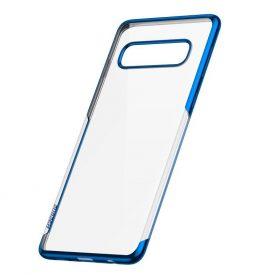 Samsung Galaxy S10 Baseus Védőtok, Fényes, 6,1″, Átlátszó / Kék