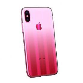 Apple iPhone X / XS Védőtok, Aurora Baseus, Átlátszó – Rózsaszín