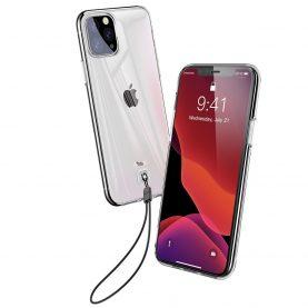 Apple iPhone 11 Pro Max Baseus Védőtok, 6,5″, Átlátszó/Fehér