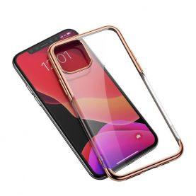 Apple Iphone 11 Pro Max, Baseus Fényes Védőtok, 6,5″, Átlátszó / Arany