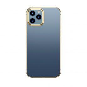 Baseus Védőtok Apple iPhone 12 / 12pro, Fényes Tok, 6,1″, Átlátszó / Arany