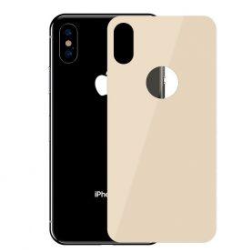 Hátvédő üvegfólia, Apple iPhone X / XS, Baseus edzett üveg, 0,3 mm, Arany