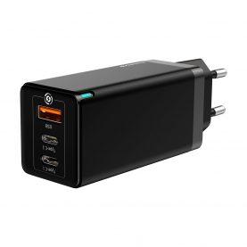 Baseus GaN Quick Utazási Univerzális Töltő, 2 C típusú port, 1 USB port, max. 65 W
