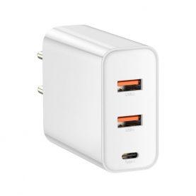 Baseus Univerzális Töltő, Fehér, Gyorstöltés, 2 USB-port, 1 C-típusú port, max. 60 W