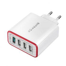 BlitzWolf BW-PL5 Hálózati Töltő, 4 USB port, Teljesítmény: 30 W, Gyorstöltés 3.0, Fehér