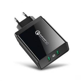 UGreen Univerzális Töltő, 2 USB port, Gyorstöltő 3.0, Teljes teljesítmény 36 W, Fekete
