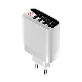 Baseus Mirror Lake Utazási Hálózati Töltő, 4 USB bemenet, max. 30 W, LED Kijelző, Fehér