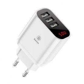 Baseus Mirror Gyors Utazási Hálózati Töltő, LED kijelző, 3 x USB, 3,4 A töltő, Fehér