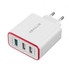 BlitzWolf BW-PL2 Hálózati töltő, 3 USB port, Teljesítmény: 30 W, Gyors töltés, Fehér