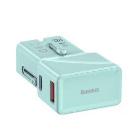 Baseus Univerzális Töltő, USB / USB-C port, Quick Charge 3.0, 18 W, Kék