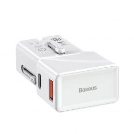 Baseus Univerzális Töltő, USB / USB-C port, Quick Charge 3.0, 18 W, Fehér