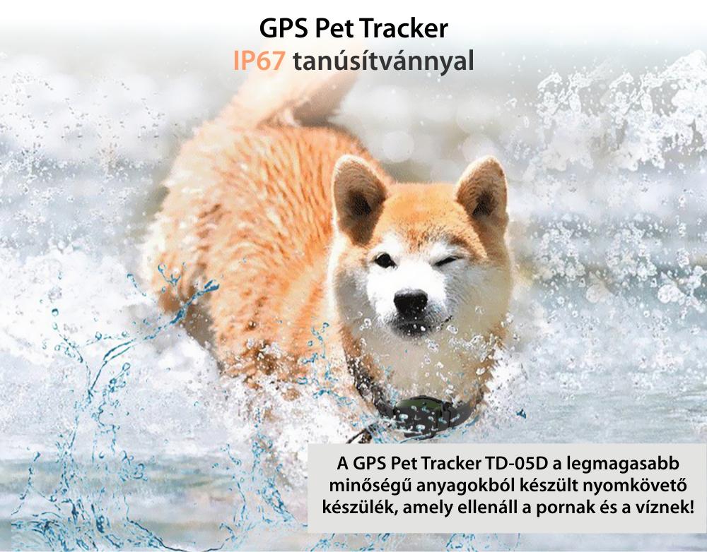 GPS nyomkövető állatoknak Motto TD-05D GPS Helymeghatározó funkcióval, Biztonsági kerület, LED jelző,  Útvonalelőzmények