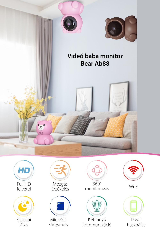 Bébiőr Bear AB88, Mozgásérzékelés, 360 ° figyelés, Éjszakai nézet, Kétirányú kommunikáció, MicroSD foglalat, Rózsaszín