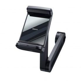 Baseus Energy fejtámlára rögzíthető autós mobil telefon tartó, Vezeték nélküli Qi 15W gyorstöltő, Fekete