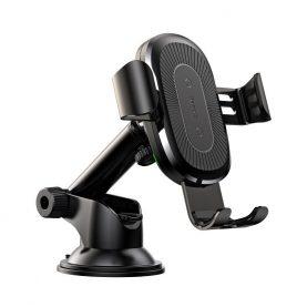 Baseus Gravity autós mobil telefon tartó, Qi induktív töltővel, Tapadókoronggal, Fekete