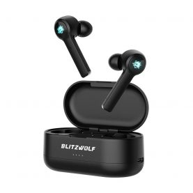 Fülhallgató BlitzWolf BW-FLB2, Wireless, Bluetooth 5.0, Vízálló IPX4, Virtuális surround sztereó hang 7.1, Ergonómikus kialakítás, Fekete