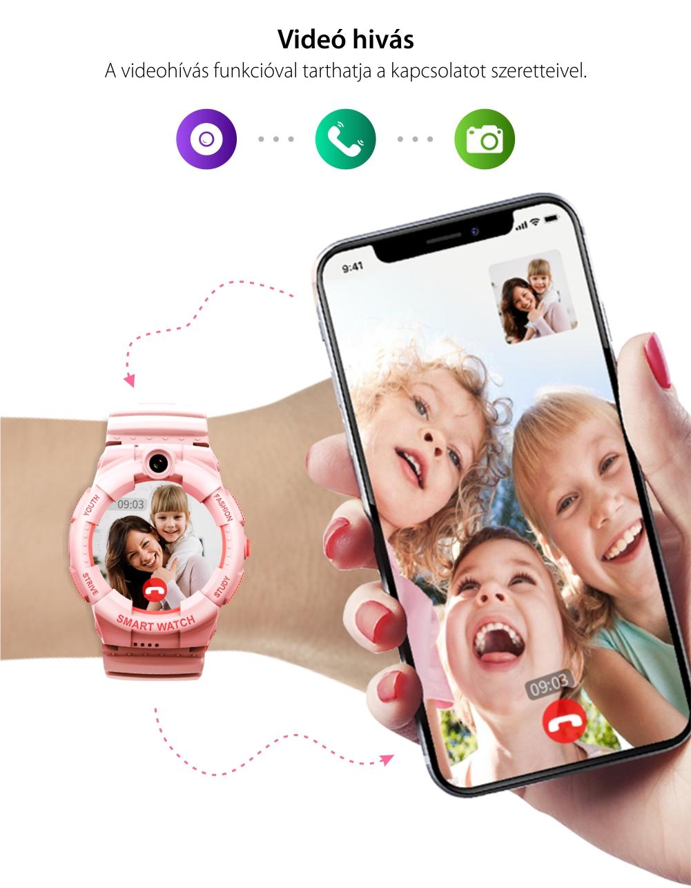 Okosóra gyerekeknek Wonlex KT25, Üzenetértesítések, Lépésszámláló, Kalória, Távolság, Kétirányú kommunikáció, Telefon fukció, Helymeghatározás, Fehér